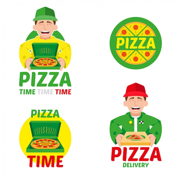 Logo icon elements mascot cartoon character fast speed delivery service set for italy hot big pizza in box from restaurant bar business. modern   style illustration isolated