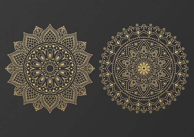 Logo icon ornamental mandala design in gold color