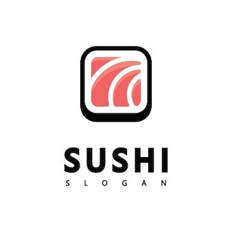 Логотип значок вектор значок стиль иллюстрация бар или магазин, суши, рулет из лосося онигири, изолированный минималистский объект