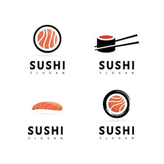 Логотип значок вектор значок стиль иллюстрация бар или магазин, суши, рулет из лосося онигири, изолированный современный объект