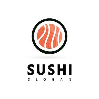 Значок логотипа вектор значок стиль иллюстрации бар или магазин, суши, ролл из лосося онигири, изолированный современный объект
