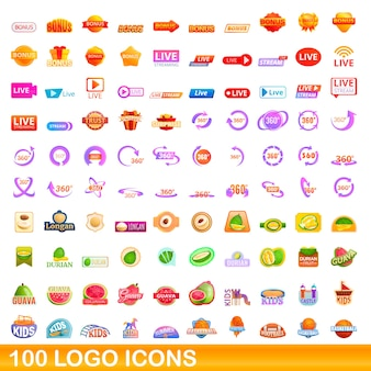 Набор иконок логотип. иллюстрации шаржа иконок логотипа на белом фоне