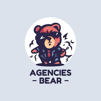 Logo illustration agencies bear simple mascot style.