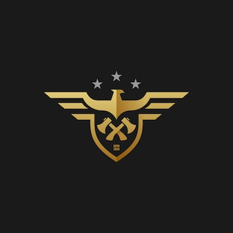 Logo illustration american eagle and axe builder style