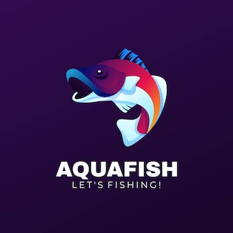 Logo illustration aqua fish gradient colorful style.