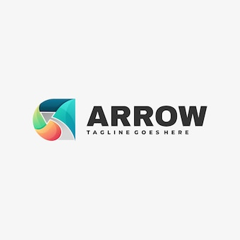 Logo illustration arrow gradient colorful style.