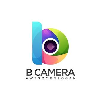 カラフルなカメラグラデーションのロゴイラストb文字
