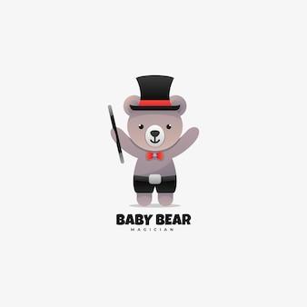 로고 그림 아기 곰 그라데이션 다채로운 스타일.