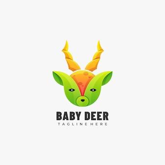 ロゴイラスト赤ちゃん鹿グラデーションカラフルなスタイル。