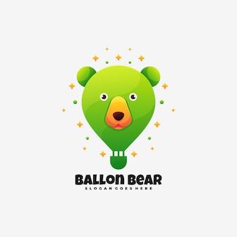 Логотип иллюстрация воздушный шар медведь градиент красочный стиль.