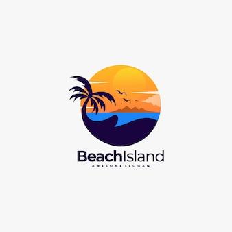 Logo illustration beach landscape vintage badge style.