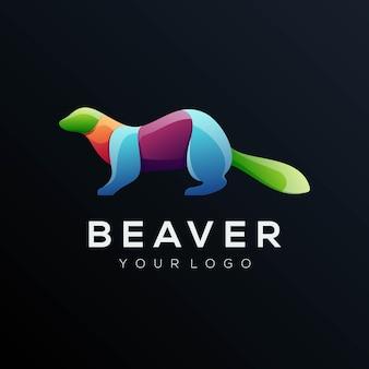 Логотип иллюстрации бобра градиент красочный стиль
