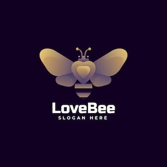 Логотип иллюстрация пчелы градиентом красочный стиль