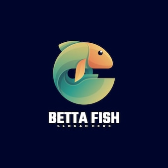 Logo illustration beta fish gradient colorful style.