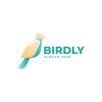 ロゴイラスト鳥のグラデーションカラフルなスタイル