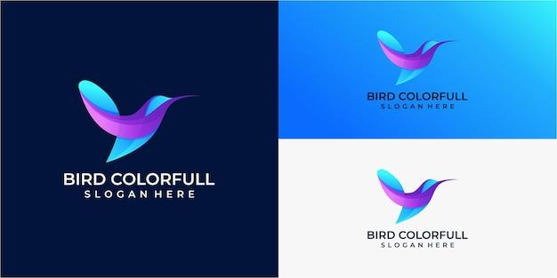Логотип иллюстрации птица градиент красочный стиль