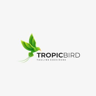 ロゴイラストカラフルな鳥のグラデーション。