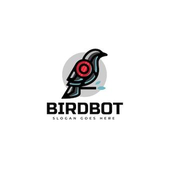 ロゴイラスト鳥ロボットシンプルマスコットスタイル