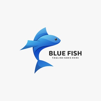 Logo illustration blue fish gradient colorful style.