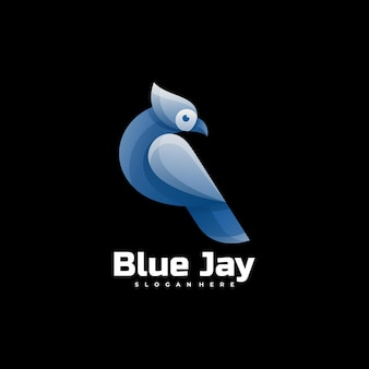 Logo illustration blue jay gradient colorful style.