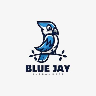 Logo illustration blue jay mascot cartoon style.