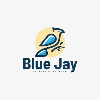 Logo illustration blue jay simple mascot style.