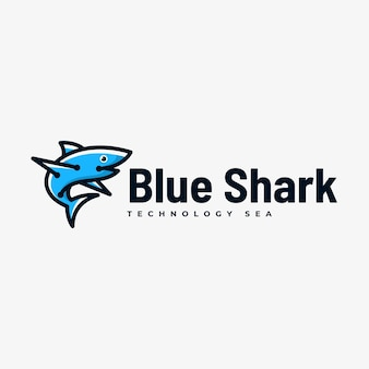 Logo illustration blue shark simple mascot style.