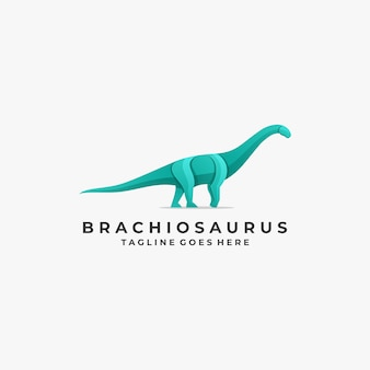 Logo illustration brontosaurus pose gradient colorful
