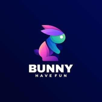Логотип иллюстрации кролика градиентом красочный стиль