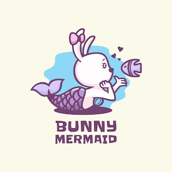 Logo illustration bunny mermaid simple mascot style.