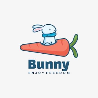 로고 그림 토끼 간단한 마스코트 스타일.