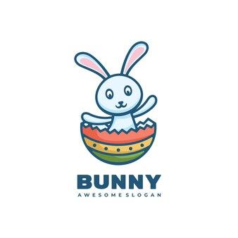 Логотип иллюстрация банни простой стиль талисмана.