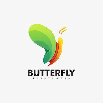 Логотип иллюстрация бабочка градиент красочный стиль.