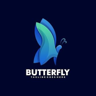 ロゴイラスト蝶のグラデーションカラフルなスタイル。