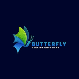 Logo illustration butterfly gradient colorful style.
