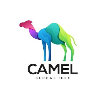 Иллюстрация логотипа верблюда красочный градиент
