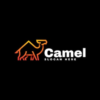 Логотип иллюстрация верблюд градиентной линии в стиле арт.
