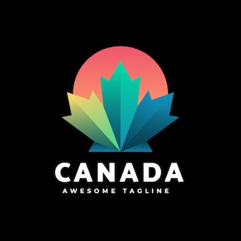 Logo illustration canada gradient colorful style.