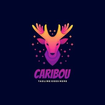 Логотип иллюстрация карибу градиент красочный стиль.