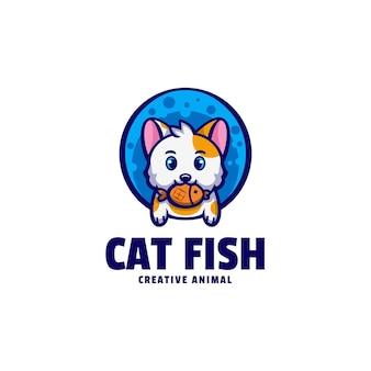Логотип иллюстрации кошки рыбы талисман мультяшном стиле