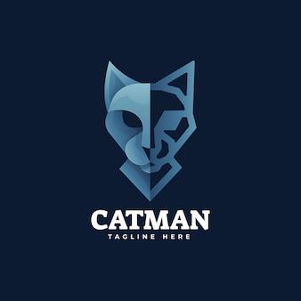 Иллюстрация логотипа cat градиент красочный стиль.