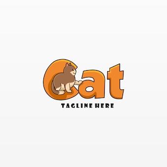 Логотип иллюстрация cat простой стиль талисмана.