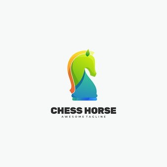 Logo illustration chess horse gradient colorful style.