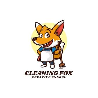 Logo illustration cleaning fox mascot cartoon style