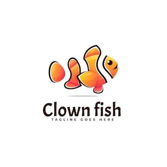 Иллюстрация логотипа рыба клоун градиентом красочный стиль