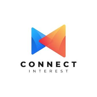 Иллюстрация логотипа подключите градиент красочный стиль.