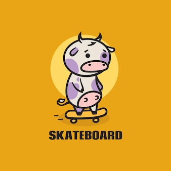 Logo illustration cow skateboard simple mascot style.