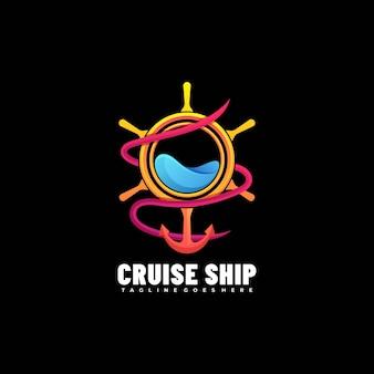 Логотип иллюстрация круизный лайнер градиент красочный стиль. Premium векторы