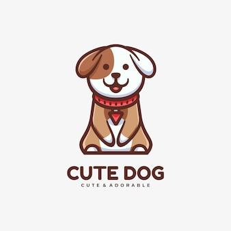 Иллюстрация логотипа симпатичная собака в простом стиле талисмана.