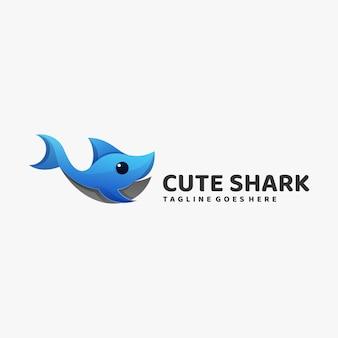 Логотип иллюстрация симпатичные акула градиент красочный стиль.